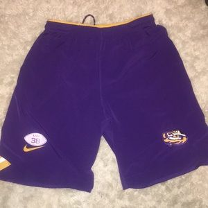 LSU football workout shorts.
